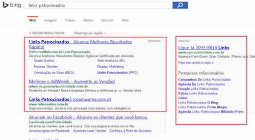 Exemplo de Links Patrocinados no Bing