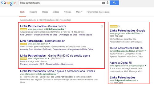 Exemplo de Links Patrocinados no Google