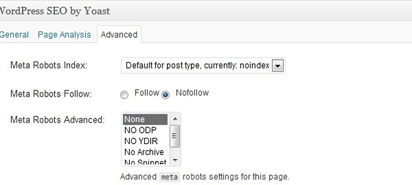 Imagem do plugin wordpress SEO com a tag noindex